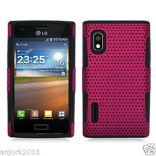 LG Optimus Extreme L40G Mesh Perforated Hybrid Case Skin Cover Hot Pink Black