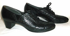 FLORSHEIM VTG 1920s WOMENS OXFORD LACE PEEP TOE HEELS CROC Embossed Leather 10