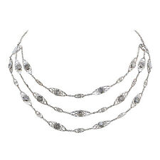 Fine Platinum Handmade Natural ~15ct Total Diamond By The Yard Necklace