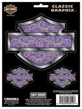 HARLEY DAVIDSON BAR & SHIELD SILHOUETTE W/ PURPLE BACKGROUND DECAL CHROME FINISH