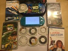 SLIM SONY PSP 3003 METALIC TURQUOISE LIMITED EDITION CONSOLE +10 GAMES +LB