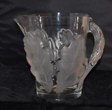 """RARE Lalique """"CHENE"""" Large Pitcher - Frosted Oak Leaf Pattern-#13206- 8.5""""H"""