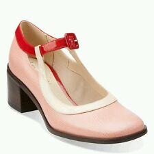 Clarks womens/ ladies Orla Kiely pink leather Amelia Mary Jane shoes size 4 BNIB