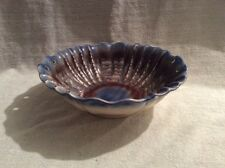 VINTAGE GERMAN GLAZED POTTERY FLUTED BOWL