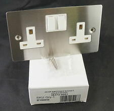 Volex 13A 2 Gang DP Brushed Chrome Stainless Flatplate Switched Socket