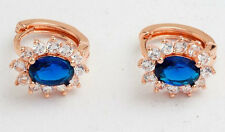 18K ROSE GOLD FILLED HUGGIE HOOP CZ BLUE SAPPHIRE CRYSTAL EARRINGS