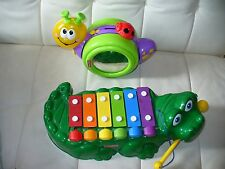 Fisher Price musical toy lot Alligator crocodile xylophone, musical crawl snail