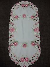 """16X36"""" Embroidered Table Runner TableClothes Table Linen Topper Pink Floral Oval"""