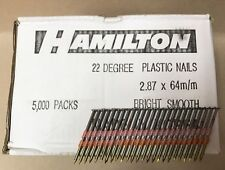 20 21 22 Degree 2.8 x 64mm Bright Smooth Plastic Collated Framing Nails 5000 Qty