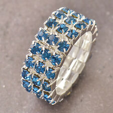 Sky blue CZ 9K White Gold Filled Womens Ring Size 7 Adjustable F5155