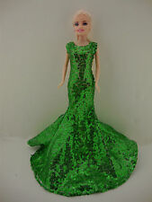 An Awe Inspiring Green Sequined Mermaid Gown Made to Fit the Barbie Doll