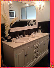 French Provincial Bathroom Vanity Romeo 1800 White Stone Top