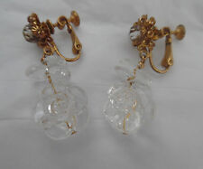 MIRIAM HASKELL 40'S EARRINGS  MOLDED LUCITE CLEAR ROSES DANGLING GOLD TONE SCREW