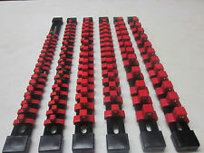 "RED 6pc MOUNTABLE ABS SOCKET RAILS 1/4"" 3/8"" 1/2"" RACK TRAY HOLDER ORGANIZERS"