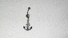 Clear Crystal Boat Anchor Belly Navel Ring Body Jewelry Piercing