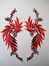 #5084R Lot 2Pcs Red Flower Trim Fringe Leaves Embroidery Iron On Applique Patch