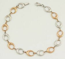 10k White and Rose Gold Bracelet, 7.5 inches (new link, 2.60g) #3015