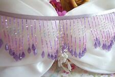 1-YD ~ PURPLE~PINK~ GLASS ~ BEADED ~ FRINGE ~ LACE ~ RIBBON ~ TRIM ~ LAMP SHADE