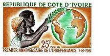 IVORY COAST 1961 INDEPENDENCE imperforated SC#182 MNH large MARGINS GLOBE MAPS