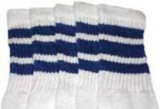 """30"""" OVER THE KNEE WHITE tube socks with ROYAL BLUE stripes style 1 (30-20)"""