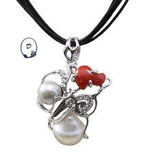Ciondolo corallo e perle, incastonato con cristalli, argento 925-made in italy