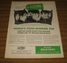 1946 Vintage Ad Du Pont D-Activated Animal Sterol White Leghorn Chickens