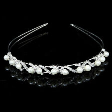 Wedding Flower Crystal Hair Band Girls Children Kids Pearl Wave Crown Headband