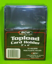 25 TOPLOAD CARD HOLDERS FOR SPORTS/ TRADING CARDS, 12M 3 X 4 RIGID PLASTIC, BCW