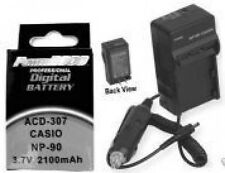 NP-90 Battery + Charger for Casio EX-H20G EX-H20 EXH20G EXH20