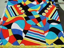 .9 YDS RED YELLOW BLUE ABSTRACT PSYCHEDELIC VINTAGE 60'S ALL COTTON FABRIC 2 PCS
