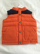 GYMBOREE BOYS PUFFER VEST JACKET SIZE 12-24 MONTHS ORANGE BLUE CORDOUROY NWT