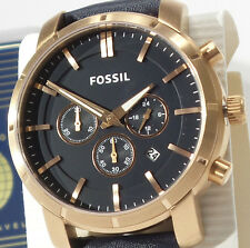 FOSSIL BQ2134 Men's Rose Gold Case Blue Leather Band Chronograph Watch $145 NEW