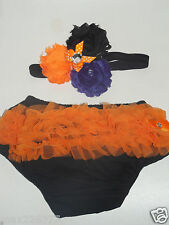 NEW Baby girl   0-24 MONTHS Halloween  diaper cover bloomer and headband set