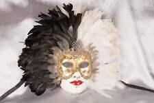 Full Faced Feathered Venetian Masquerade Masks - Volto Piuma Piena