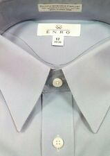 ENRO Dress Shirt 100% Cotton Non-Iron Pinpoint Point Collar $88 NWT 17-34/35