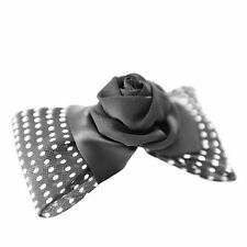 Moliabal Womens Barrette with White and Black Polka Dot Bow with Flower NWT
