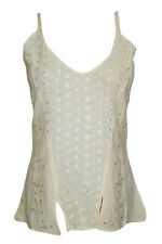 WOMEN'S TANK TOP BEIGE EMBROIDERED BOHO GYPSY HIPPIE STRAPPY CAMI BLOUSE TOPS S