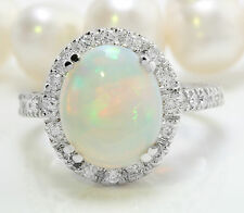 3.75 CTW Natural Ethiopian Opal and Diamonds in 14K Solid White Gold Women Ring