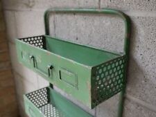 Metal Green Industrial Storage Wall Unit Shabby Distressed Vintage Shelving rack