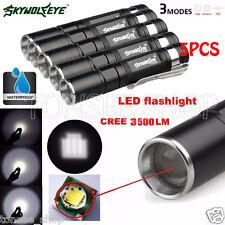 5PCS 3500LM CREE Q5 LED 3Modes AAA ZOOM Flashlight Mini Torch Lamp Super Bright
