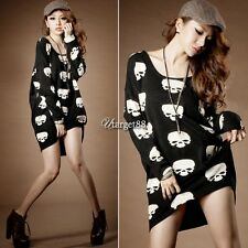 Punk Rock Style Skull Pattern Maternity Tops Long Sleeve Blouse Mini Women UTAR