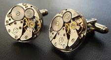 ROUND WATCH MOVEMENT STEAMPUNK CUFF LINKS Men's Vintage Silver Wedding Cufflinks