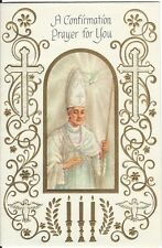 Vintage Greeting Card Confirmation Priest Bishop Dove Candles Religious