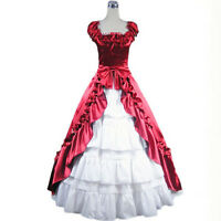Victorian Gothic Stain Sleeveless Layered Wedding Lolita Cosplay Gown Ball Dress