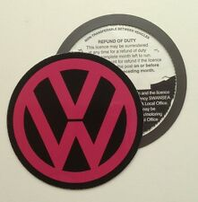 Magnetic Tax disc holder fits any volkswagen vw golf polo passat pink cerize up