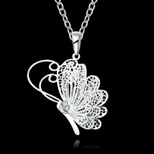Glamour Women 925 Sterling Silver Hollow Flying Butterfly Pendant Chain Necklace