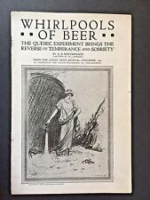 Temperance Movement 1923 Quebec, Montreal WHIRLPOOLS OF BEER WCTU Bootlegging