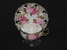 Vintage Royal Sealy 3-Toed Lusterware Tea Cup and Saucer Roses Iridescent