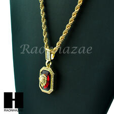 "ICED OUT HIP HOP LION FACE RED RUBY SQUARE PENDANT 24"" ROPE NECKLACE CHAIN KN034"
