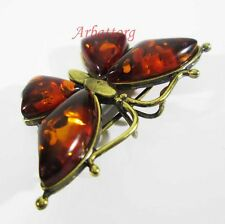 Russian Bronze Solid Brass Amber Female Ornament Vintage Brooch Butterfly # 110